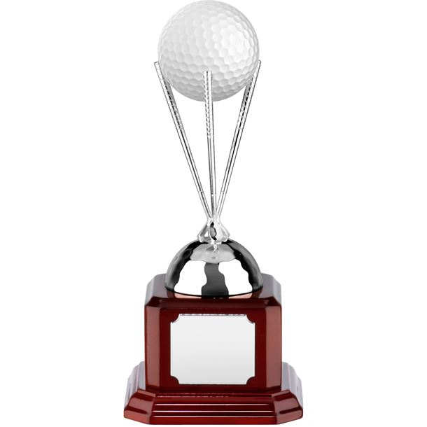 """Nickel Plated Golf Ball Stand on Piano Wood Base 15cm (6"""")"""