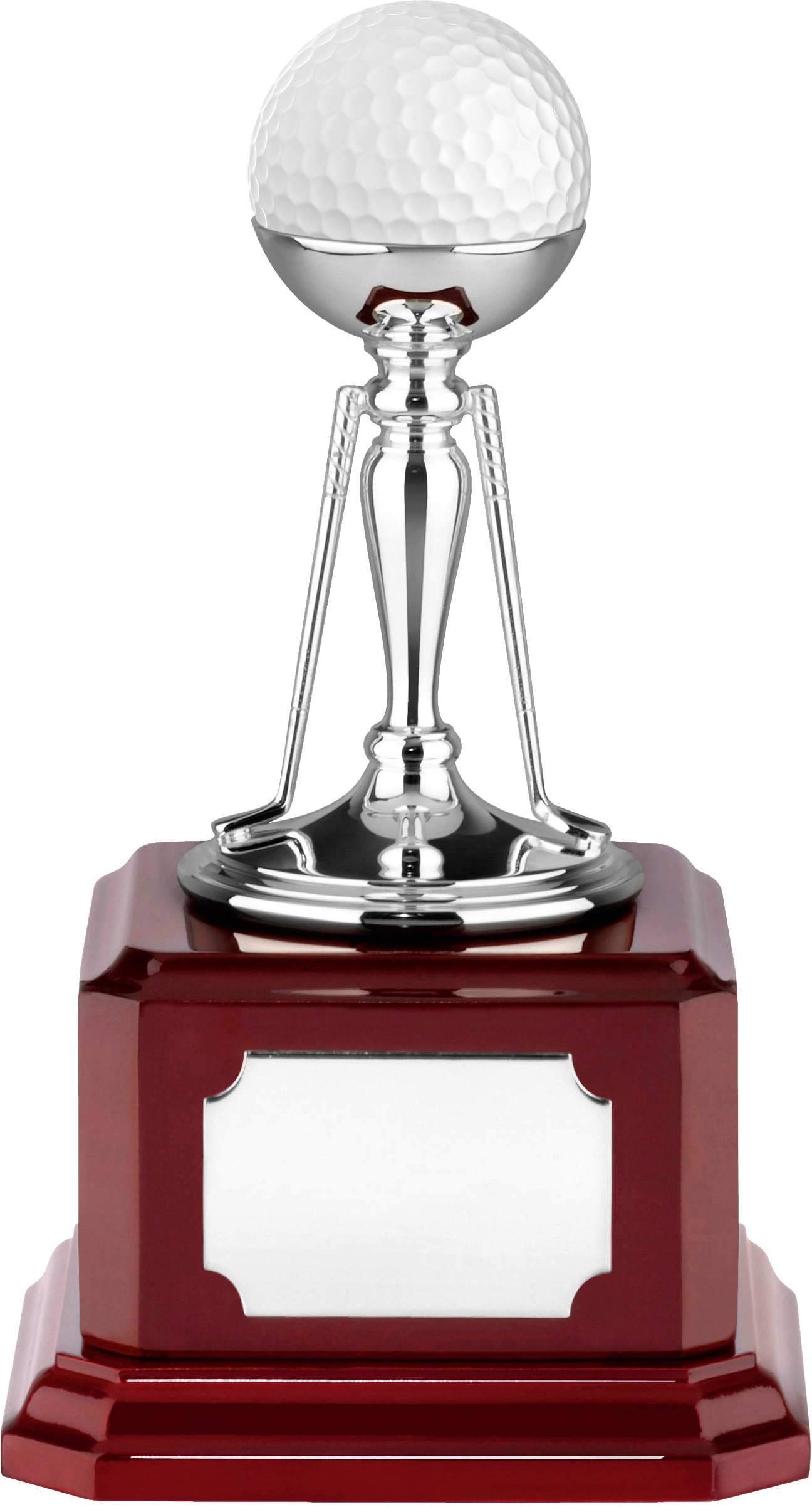 "Nickel Plated Golf Ball Holder Trophy on Piano Wood Base 15cm (6"")"