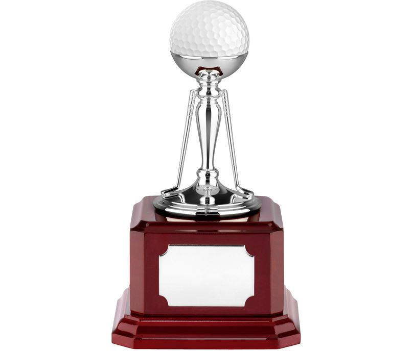 """Nickel Plated Golf Ball Holder Trophy on Piano Wood Base 15cm (6"""")"""