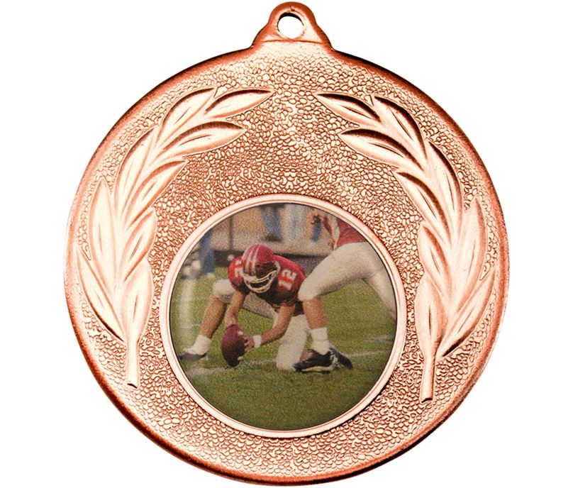 "Bronze Leaf Victory Medal (2"") with 1"" Acrylic American Football Centre"