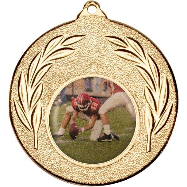 """Gold Leaf Victory Medal (2"""") with 1"""" Acrylic American Football Centre"""