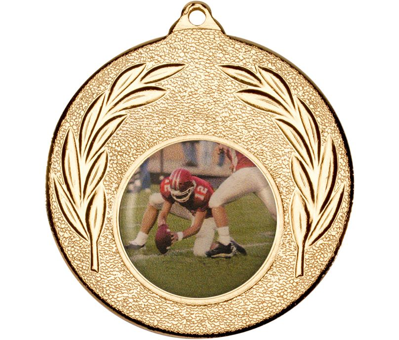 "Gold Leaf Victory Medal (2"") with 1"" Acrylic American Football Centre"