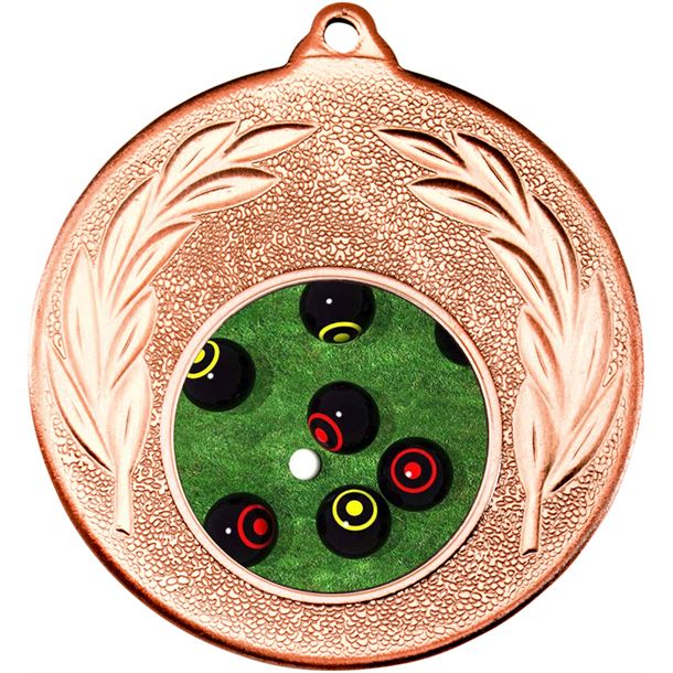 """Bronze Leaf Victory Medal (2"""") with 1"""" Acrylic Lawn Bowls Centre"""