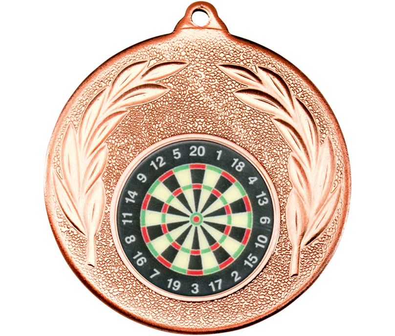 """Bronze Leaf Victory Medal (2"""") with 1"""" Darts Board Centre"""