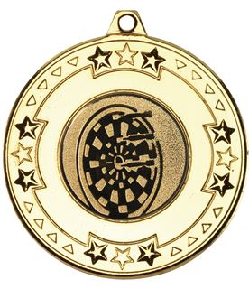 """Gold Star & Pattern Medal with 1"""" Dart Board Centre Disc 50mm (2"""")"""