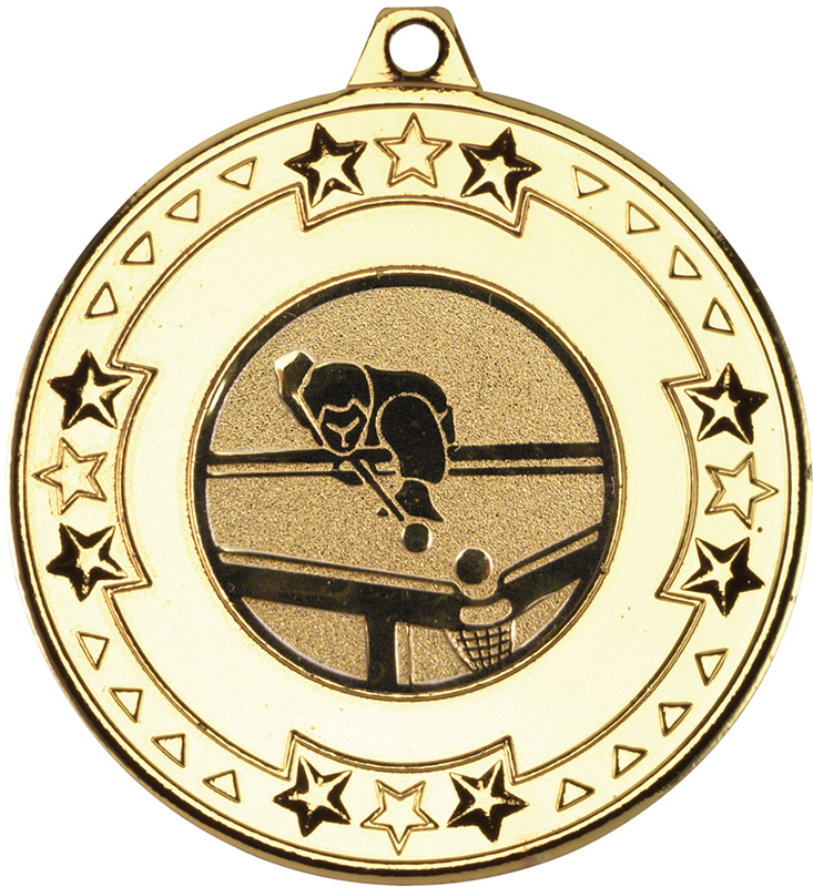 "Gold Star & Pattern Medal with 1"" Pool Centre Disc 50mm (2"")"