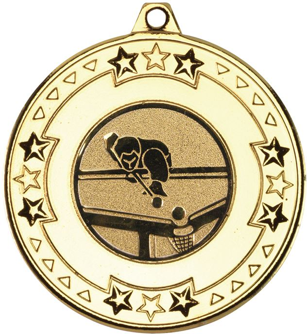 """Gold Star & Pattern Medal with 1"""" Pool Centre Disc 50mm (2"""")"""