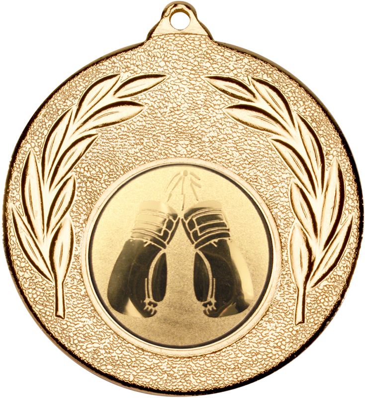 """Gold Leaf Medal with 1"""" Boxing Centre Disc 50mm (2"""")"""
