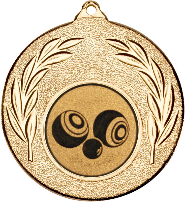 """Gold Leaf Medal with 1"""" Bowls Centre Disc 50mm (2"""")"""