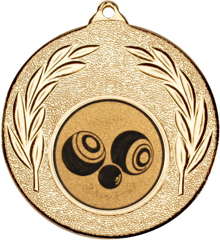 "Gold Leaf Medal with 1"" Bowls Centre Disc 50mm (2"")"