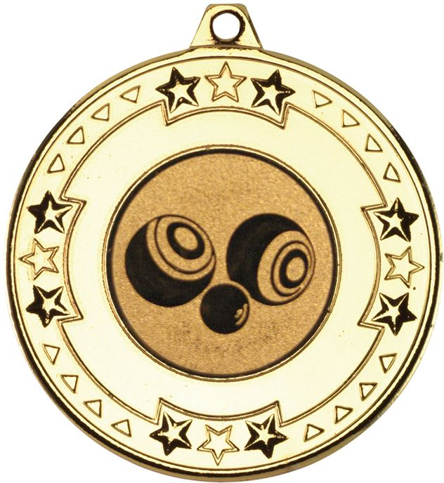 """Gold Star & Pattern Medal  with 1"""" Bowls Centre Disc 50mm (2"""")"""