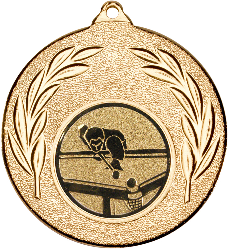 """Gold Leaf Medal with 1"""" Pool Centre Disc 50mm (2"""")"""