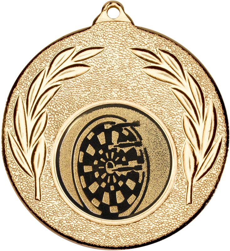 "Gold Leaf Medal with 1"" Dart Board Centre Disc 50mm (2"")"