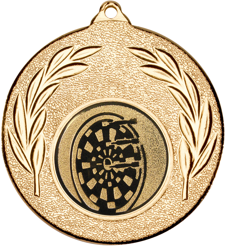 "Gold Leaf Medal with 1"" Dart Board Centre Disc 50mm (2"")"