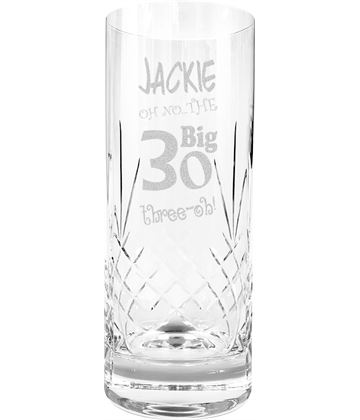 Oh No The Big Three Oh 30th Birthday Highball Glass 1/2 Pint 16cm