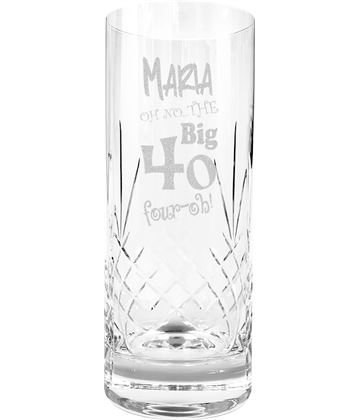 Oh No The Big Four Oh 40th Birthday Highball Glass 1/2 Pint 16cm