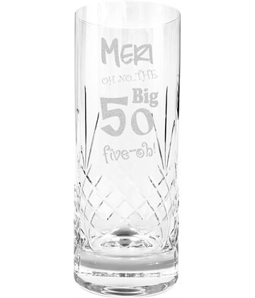 Oh No The Big Five Oh 50th Birthday Highball Glass 1/2 Pint 16cm