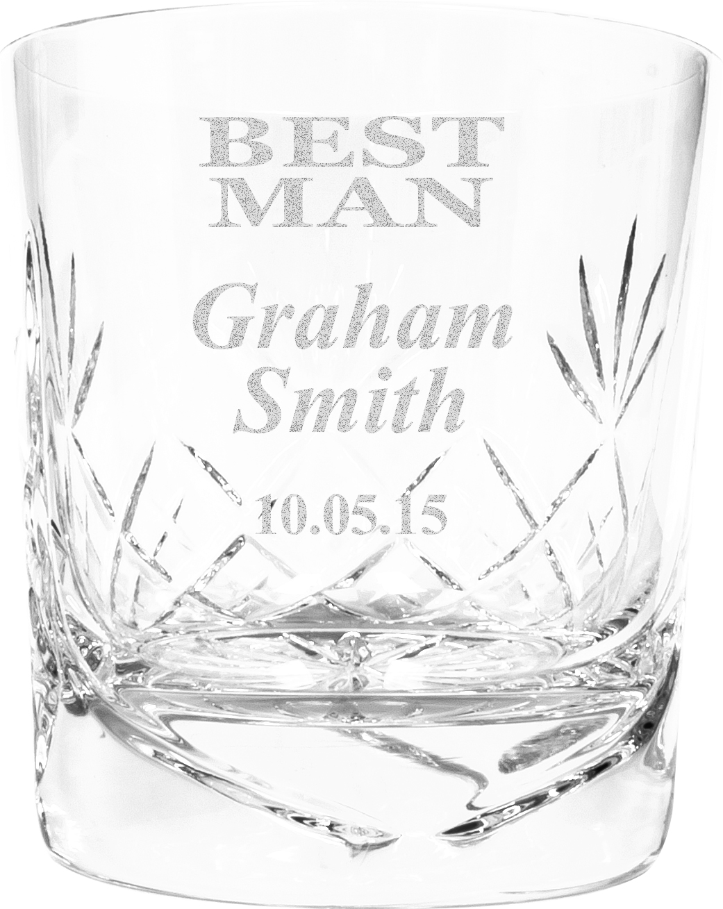 "Best Man Personalised Crystal Whisky Tumbler 9.5cm (3.5"")"