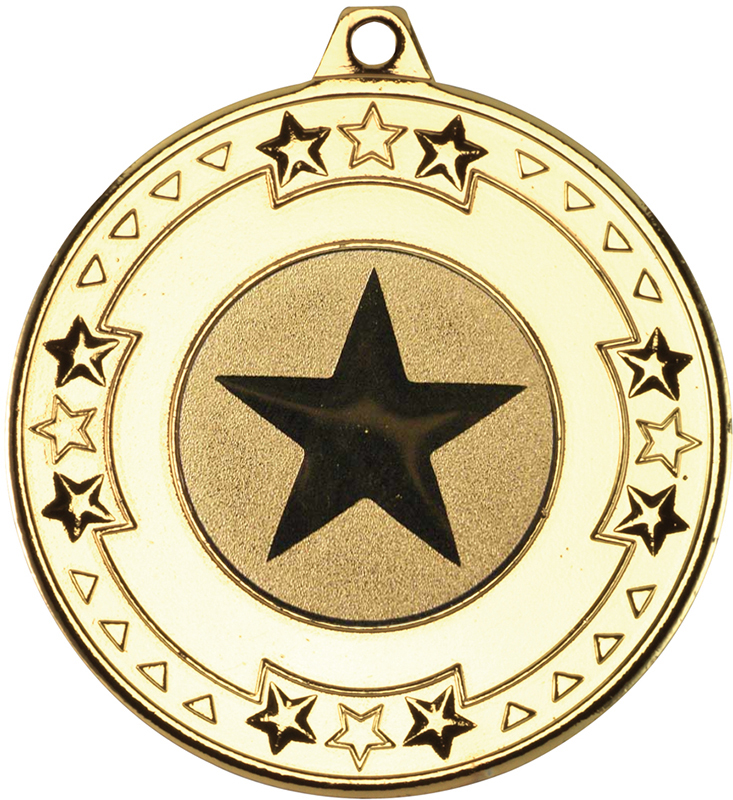 """Gold Star & Pattern Medal with 1"""" Star Centre Disc 50mm (2"""")"""