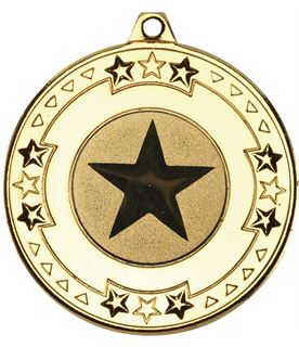 "Gold Star & Pattern Medal with 1"" Star Centre Disc 50mm (2"")"