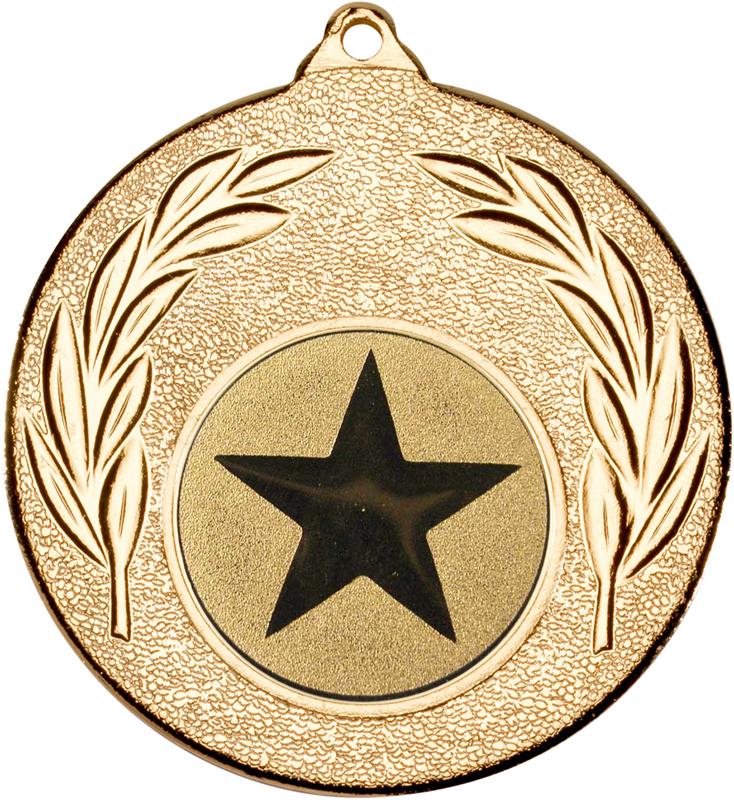 "Gold Leaf Medal with 1"" Star Centre Disc 50mm (2"")"