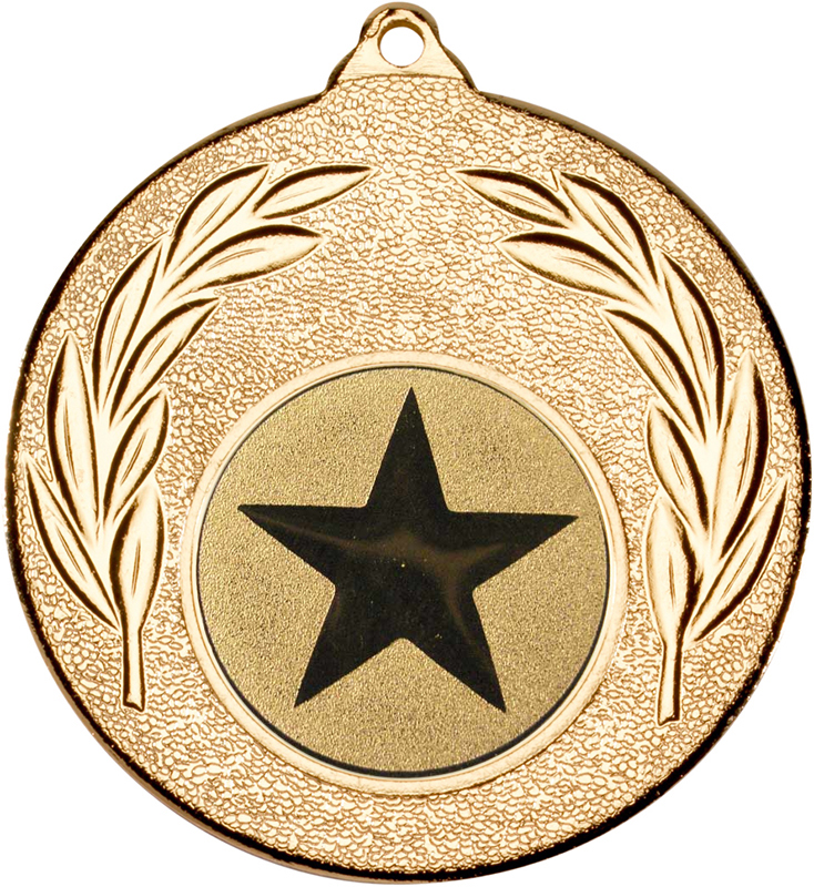 "Gold Leaf Medal with 1"" Star Centre Disc 50mm (2"")"