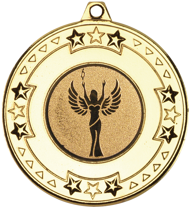 """Gold Star & Pattern Medal with 1"""" Achievement Centre Disc 50mm (2"""")"""