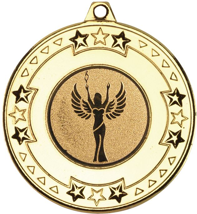 "Gold Star & Pattern Medal with 1"" Achievement Centre Disc 50mm (2"")"