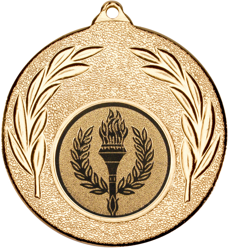 """Gold Leaf Medal with 1"""" Achievement Flame Centre Disc 50mm (2"""")"""