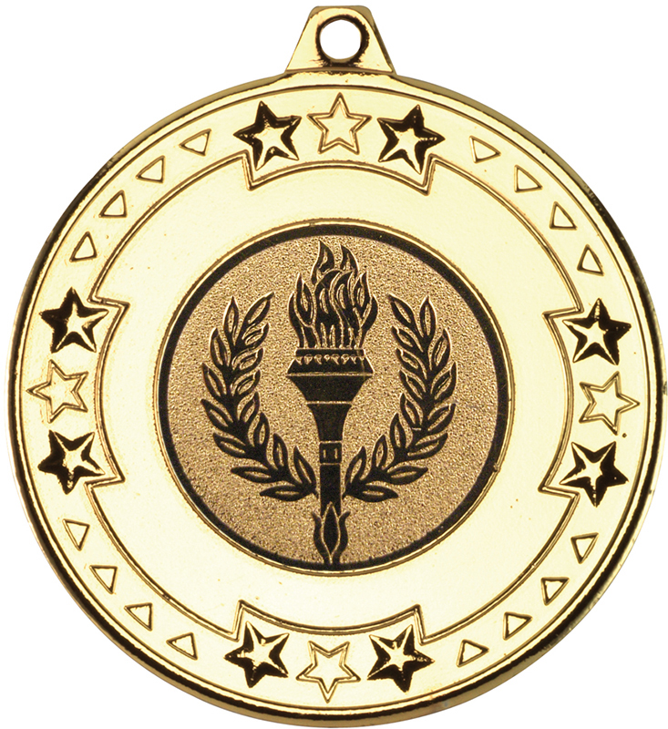 """Gold Star & Pattern Medal with 1"""" Achievement Flame Centre Disc 50mm (2"""")"""