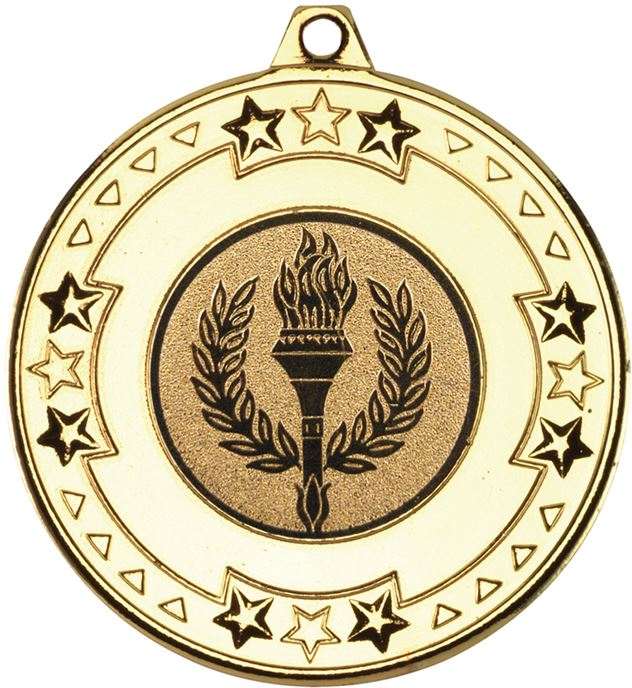 "Gold Star & Pattern Medal with 1"" Achievement Flame Centre Disc 50mm (2"")"