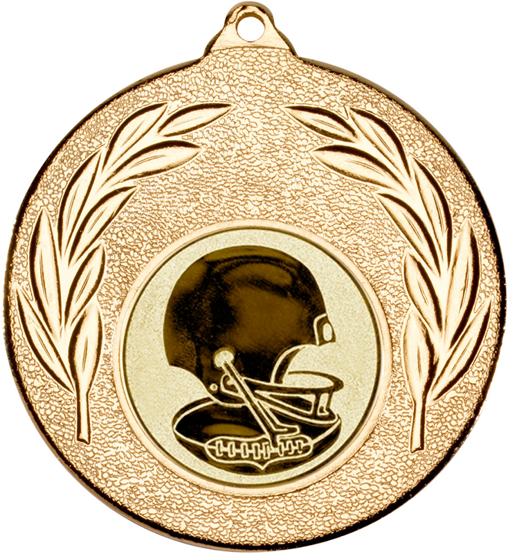 """Gold Leaf Medal with 1"""" American Football Centre Disc 50mm (2"""")"""