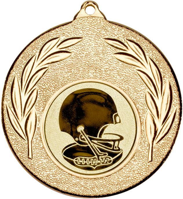 "Gold Leaf Medal with 1"" American Football Centre Disc 50mm (2"")"