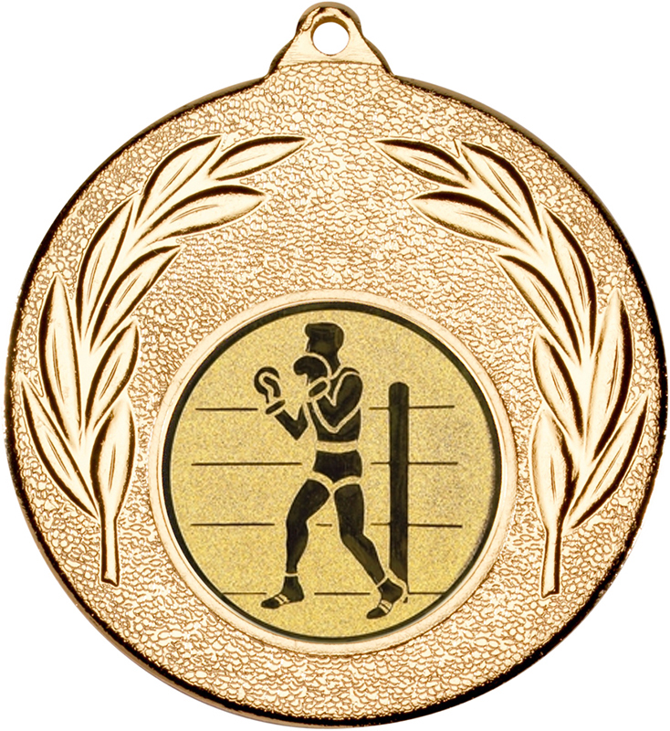 """Gold Leaf Medal 50mm (2"""") with 1"""" Boxing Centre Disc"""