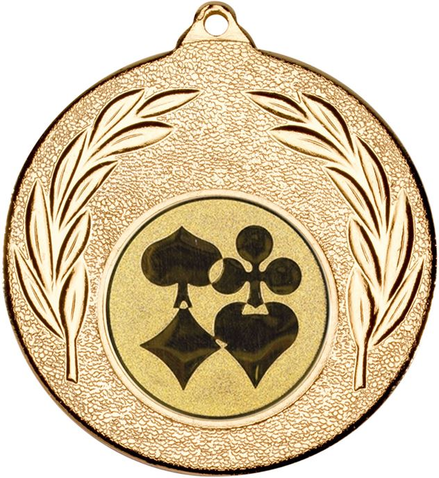 "Gold Leaf Medal 50mm (2"") with 1"" Cards Centre Disc"