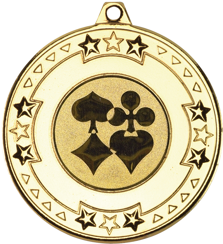 "Gold Star & Pattern Medal with 1"" Cards Centre Disc 50mm (2"")"