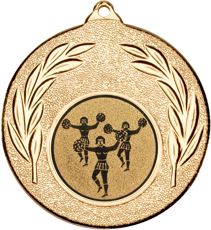 "Gold Leaf Medal with 1"" Cheer leading Centre Disc 50mm (2"")"