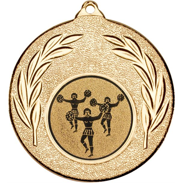 """Gold Leaf Medal with 1"""" Cheer leading Centre Disc 50mm (2"""")"""