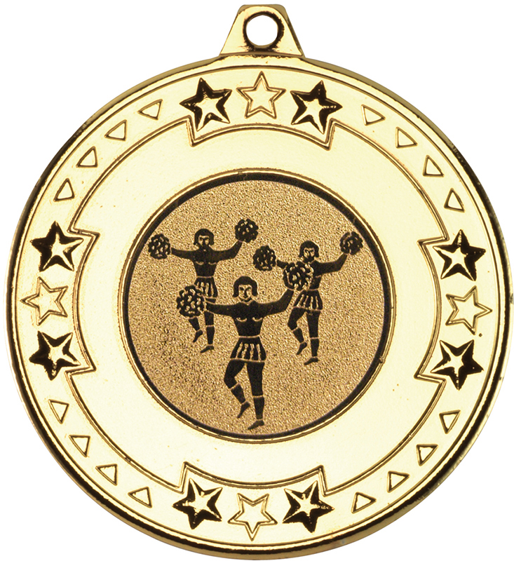 """Gold Star & Pattern Medal with 1"""" Cheer Leading Centre Disc 50mm (2"""")"""