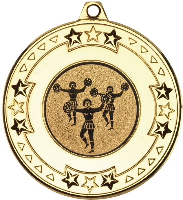 "Gold Star & Pattern Medal with 1"" Cheer Leading Centre Disc 50mm (2"")"