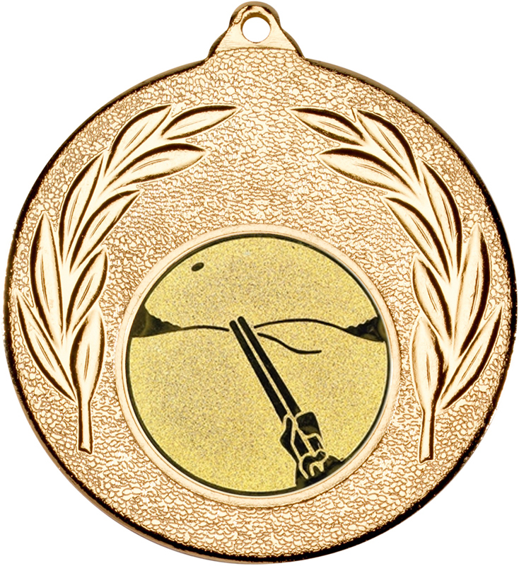 "Gold Leaf Medal with 1"" Clay Pigeon Shooting Centre Disc 50mm (2"")"