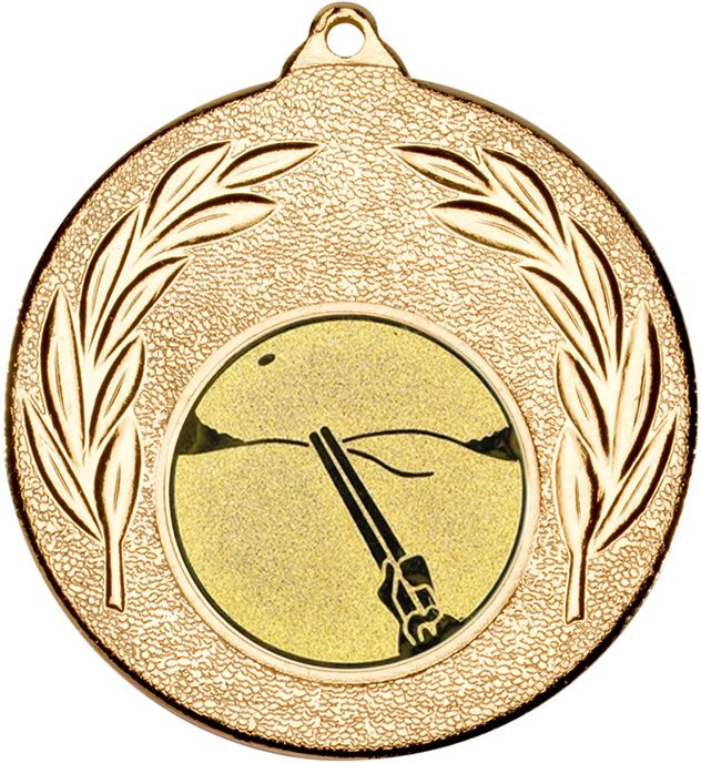 """Gold Leaf Medal with 1"""" Clay Pigeon Shooting Centre Disc 50mm (2"""")"""