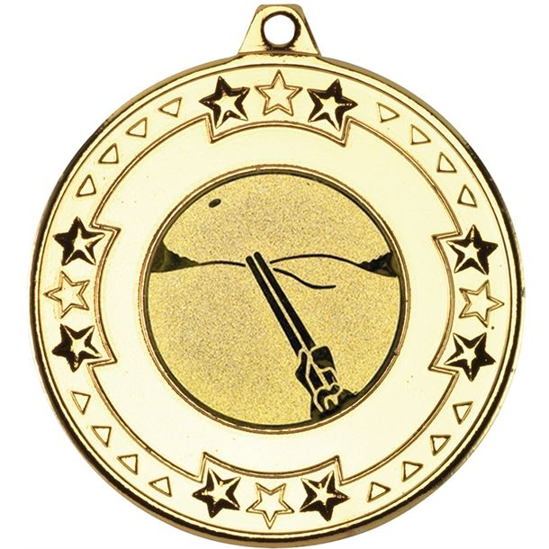 """Gold Star & Pattern Medal with 1"""" Clay Pigeon Shooting Centre Disc 50mm (2"""")"""