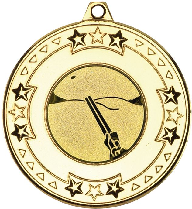 "Gold Star & Pattern Medal with 1"" Clay Pigeon Shooting Centre Disc 50mm (2"")"