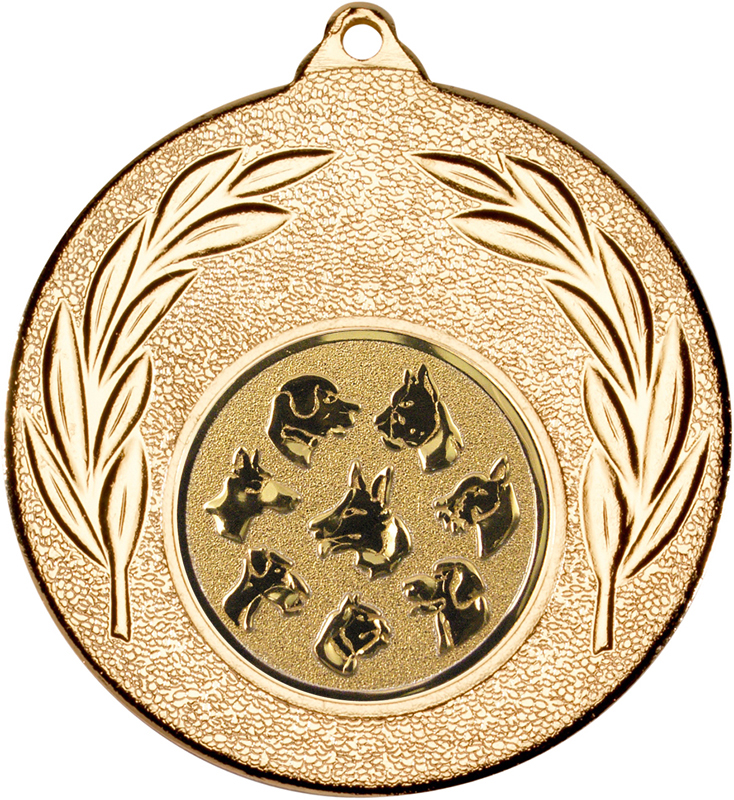 "Gold Leaf Medal with 1"" Dog Centre Disc 50mm (2"")"