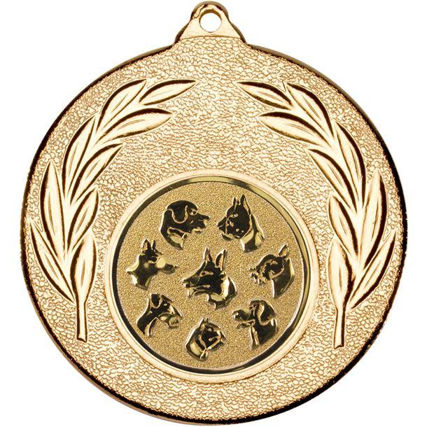 """Gold Leaf Medal with 1"""" Dog Centre Disc 50mm (2"""")"""