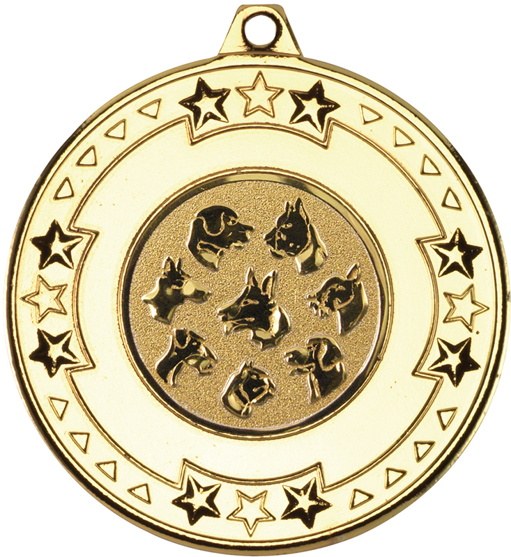 """Gold Star & Pattern Medal with 1"""" Dog Centre Disc 50mm (2"""")"""