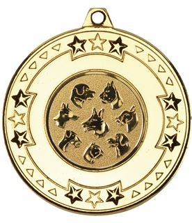 "Gold Star & Pattern Medal with 1"" Dog Centre Disc 50mm (2"")"