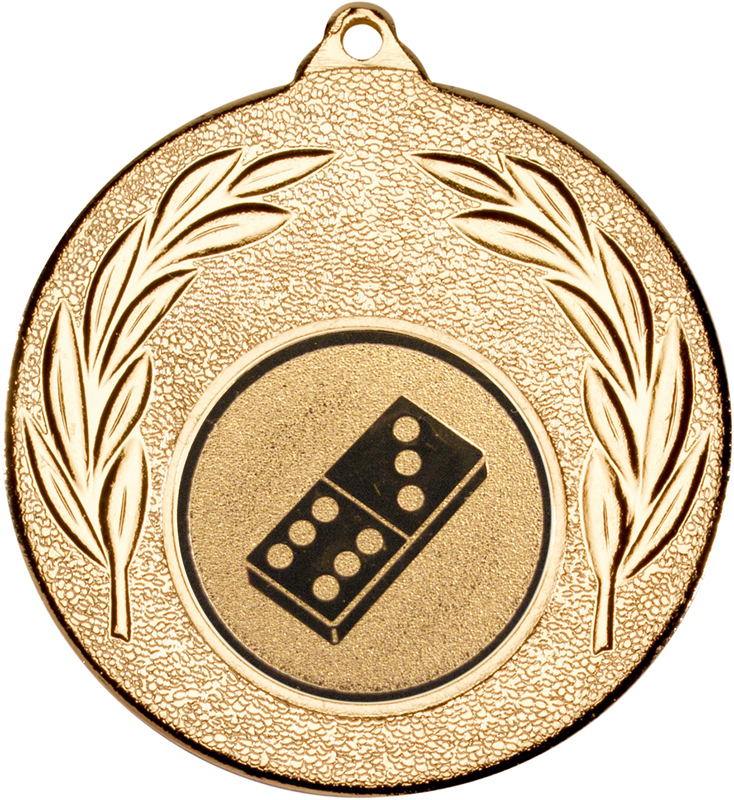 "Gold Leaf Medal with 1"" Domino Centre Disc 50mm (2"")"