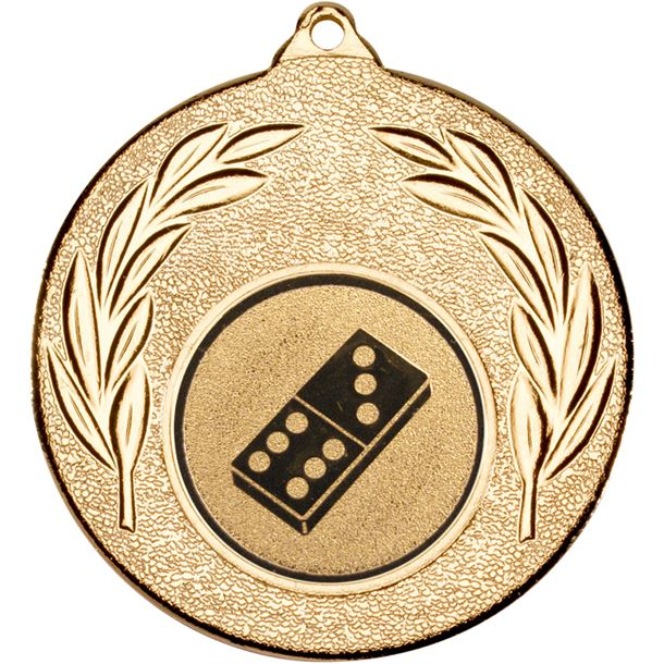 """Gold Leaf Medal with 1"""" Domino Centre Disc 50mm (2"""")"""